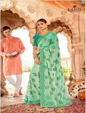 mint green simer georgette fabric embroidery work wedding