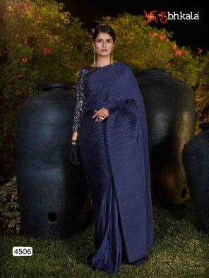 navy blue silk fabric printed work festival