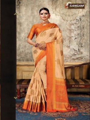 orange silk fabric jaquard print work casual