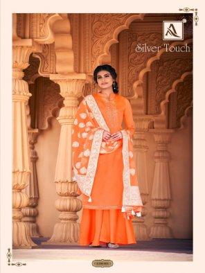 orange cotton fabric printed work festival