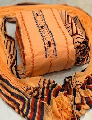 orange heavy cotton fabric embroidery  work festival