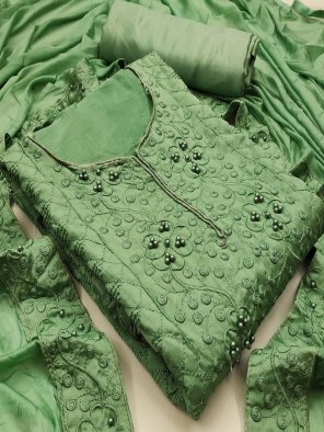 apple green chinon fabric theard with bitts work festival