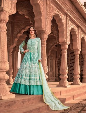 batli pure viscose georgette  fabric lucknowi with sequence work wedding