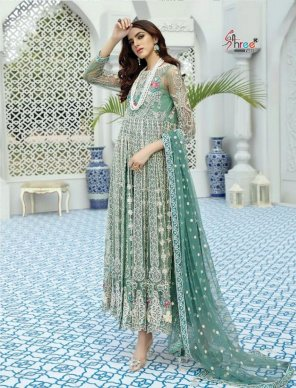 ice mint faux georgette fabric embroidery  work wedding