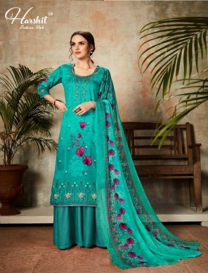 mint pure zam fabric digital style print with embroidery work festival