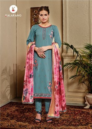 gray silk fabric embroidery work fastive wear