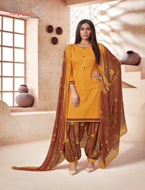 honey yellow cambric cotton fabric printed work casual