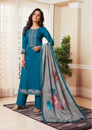 blue pashmina print  fabric embroidery work fastive wear