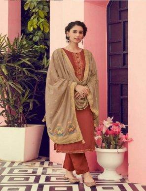 rust pure vicose cotton silk fabric embroidery work festival