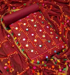 maroon pc cotton fabric multi work work festival