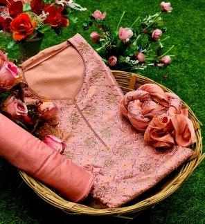 peach chinon fabric embroidery work festival