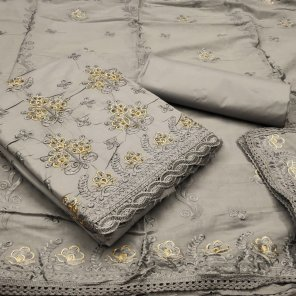 grey cotton fabric embroidery with chiken work work festival
