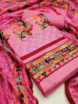 pink pc cotton fabric colorfull embroidery  work festival