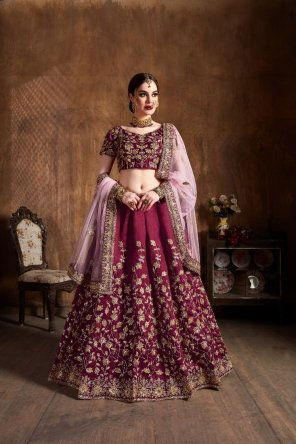 magenta malbari silk fabric dori and sequins with embroidery work bridal