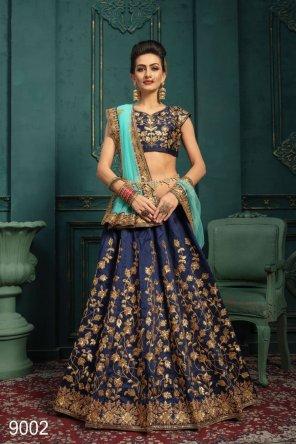 blue malbari silk fabric dori and sequins with embroidery work bridal