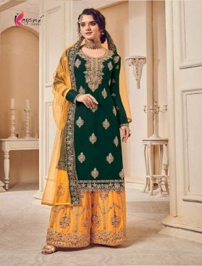 green heavy georgette fabric embroidery work festival