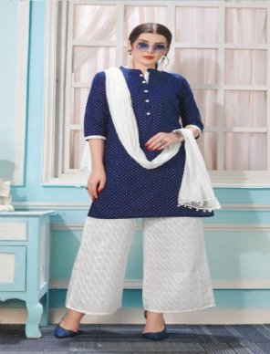 royal blue cotton fabric dotted print work casual