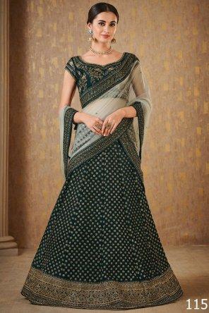 green mulbury fabric embroidery with zari and dori  work wedding