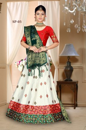 white with red satin silk fabric digital print with embroidery work work festival
