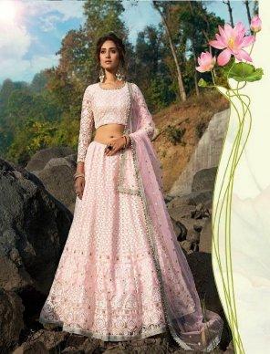 pink soft net fabric sequins thred zari work wedding