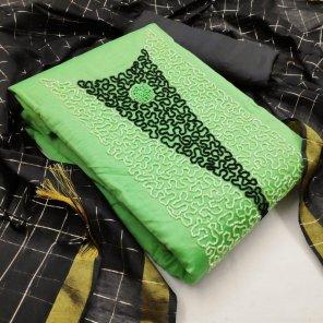 pista green modal silk fabric hand work work festival