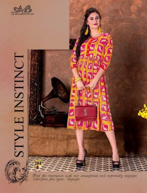 pink with yellow heavy rayon fabric printed work casual