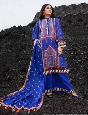 royal blue heavy jam cotton fabric digital printed work festival