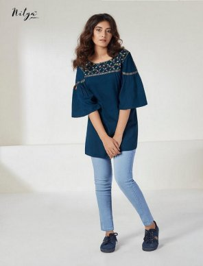peacock rayon fabric fancy work work casual
