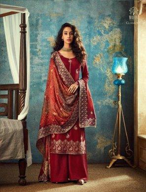 maroon  jacqurad fabric dola jari  work wedding
