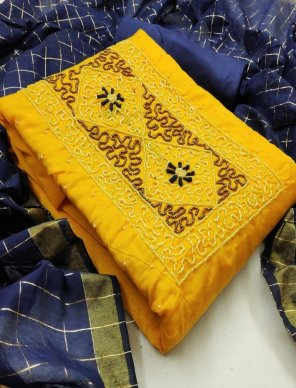 yellow heavy modal fabric hand work work festival