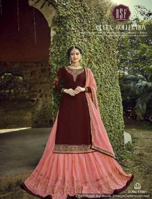 dark maroon satin georgette fabric embroidery and handwork work wedding
