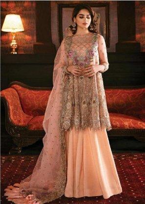 peach gorgette/net fabric embroidery work wedding