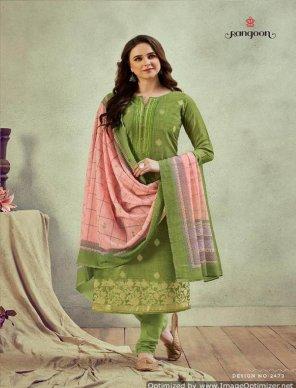 apple green jacqurad fabric digital print work casual