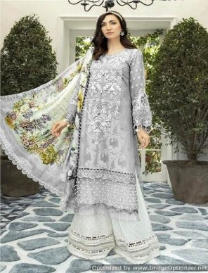 grey jam silk cotton fabric digital print with embroidery work wedding