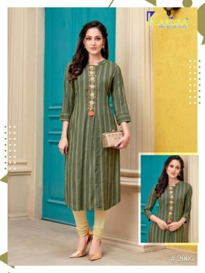 pickle green rayon fabric thread with hand work work casual
