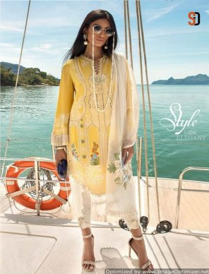light yellow cotton fabric heavy embroidery work festival