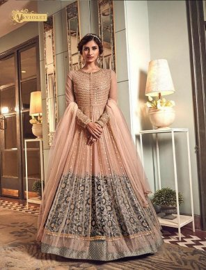 peach jacket premium net fabric heavy embroidery work wedding