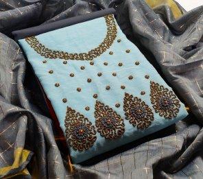 sky  modal fabric jari and fancy work work festival