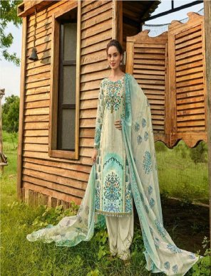 cream lawn cotton fabric digital printed work casual
