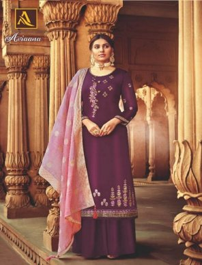 magenta satin georgette fabric fancy embroidery work festival