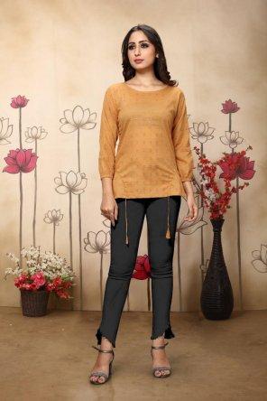 honey yellow cotton fabric printed work casual