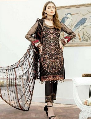 black faux georgette fabric heavy embroidery work wedding