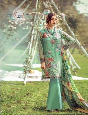 mint jam cotton fabric digital with heavy embroidery work wedding