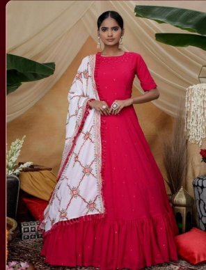hot pink georgette with silk fabric thread with sequence work wedding