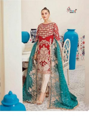 red net georgette fabric embroidery work festival