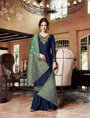 royal blue heavy sattin georgette fabric heavy embroidery work wedding