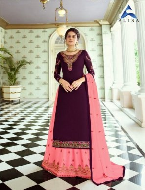 magenta satin georgette fabric embroidery work festival