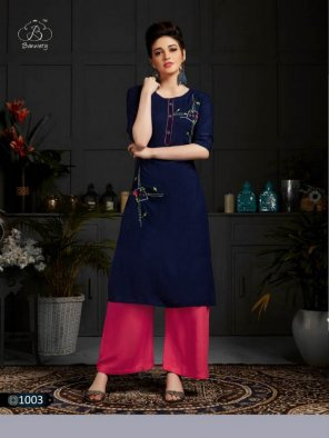 indigo rayon  fabric embroidery work casual