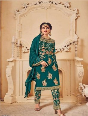 rama georgette fabric embroidery with khatli work work festival