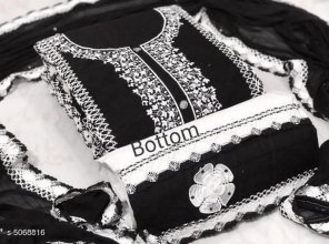 black cotton fabric embroidery work casual